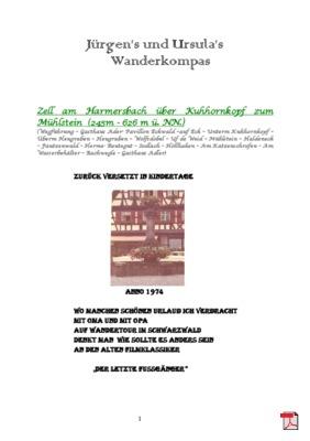 Wandertourbeschreibung  Zell am Harmersbach über Kuhhornkopf zum Mühlstein