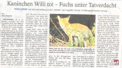 Kaninchen Willi tot - Fuchs unter Tatverdacht - Allgemeine Zeitung Mainz 12.10.2012